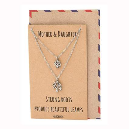 pewter tree of life necklace set