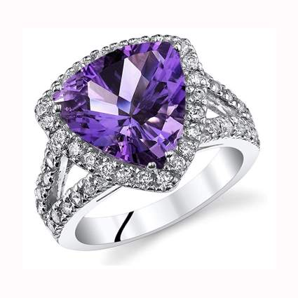 silver and trillion cut amethyst cocktail ring