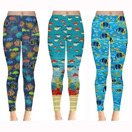 tropical fish print swim leggings