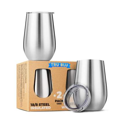 Tru Blu Steel Vacuum Insulated Stainless Steel Wine Glasses