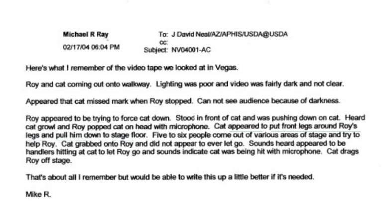 email regarding roy horn tiger attack