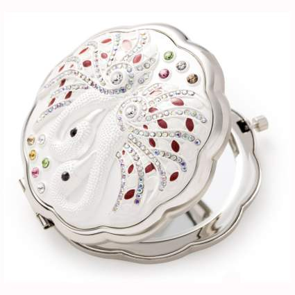 vintage silver compact mirror with swans