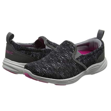 heathered black and pink athletic shoes