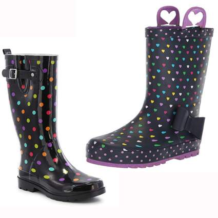 black rubber rainboots with polka dots and hearts