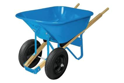 WestWard Dual-Wheel Steel Wheelbarrow