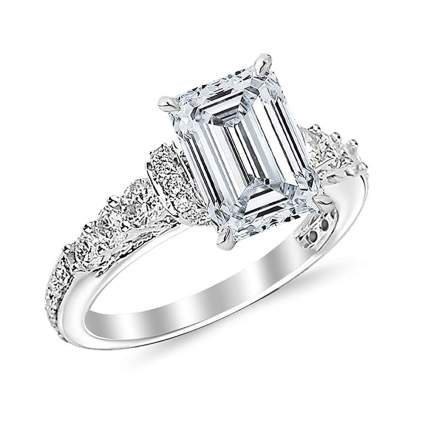 white gold and emerald cut diamond ring