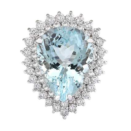 white gold pear shape aquamarine and diamond cocktail ring