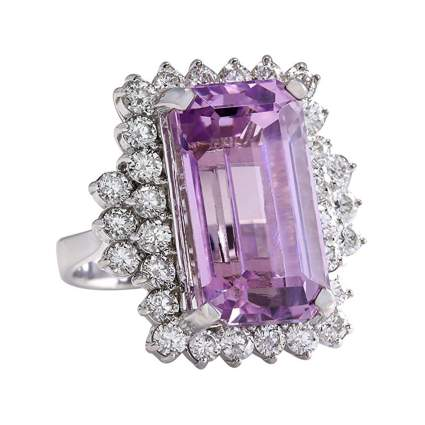 white gold pink kunzite and diamond cocktail ring