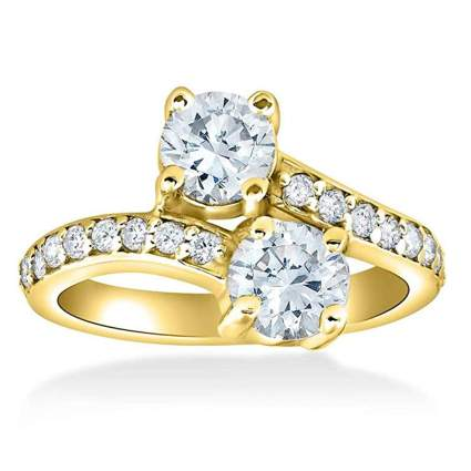 yellow gold and diamond two stone crossover ring
