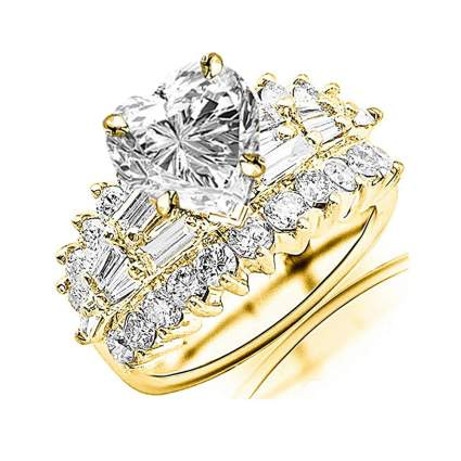 yellow gold heart shaped diamond engagement ring