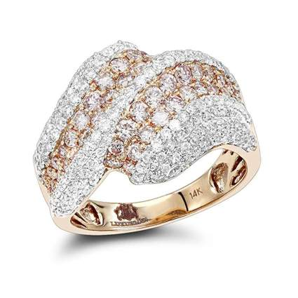 yellow gold pink and white diamond cocktail ring
