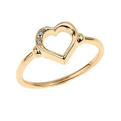 yellow gold two diamond heart ring