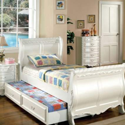 24/7 Shop at Home Childrens-Bed-Frames, Twin, Pearl White