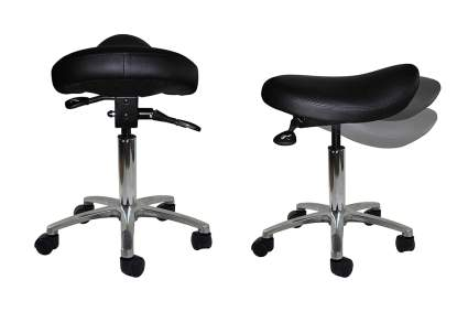 Black tilting saddle stool