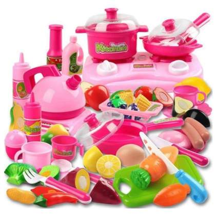 42 Piece Kitchen Cooking Set Girls Boys Fruit Vegetable Tea Playset Toy