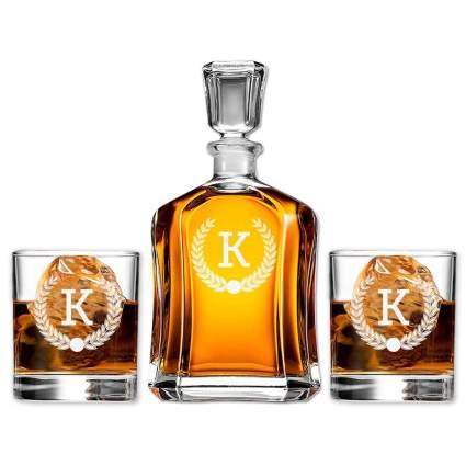 Monogram Scotch Glass & Whiskey Decanter Set