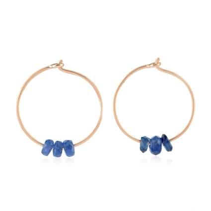 18K Gold Natural Gemstone Earrings