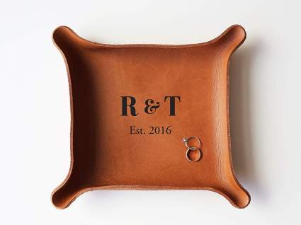 Leather Personalized Leather Catchall Tray