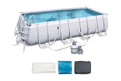 Bestway 18' x 9' x 4' Power Steel Frame Above Ground Rectangular Swimming