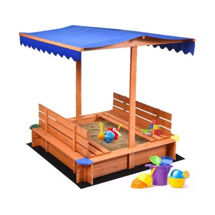 Costzon Kids Wooden Sandbox with Canopy