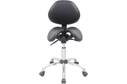 Black split saddle stool with backrest