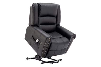 black faux leather lift recliner