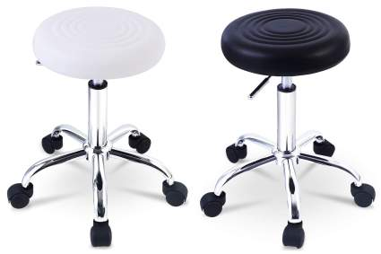 White and black stools with circular pattern