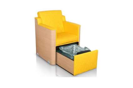 Yellow arm chair with hidden foot bath