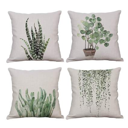 Throw pillows with plant design