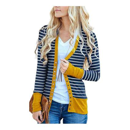Woman in striped cardigan