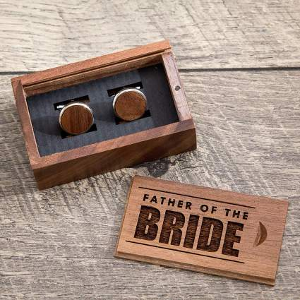 Father of the Bride Gift Box With Walnut Cufflinks