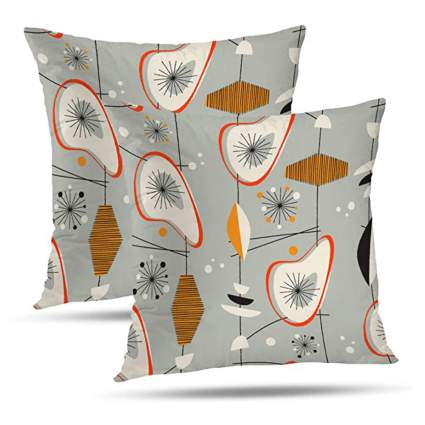 gray and orange abstract pillow covers
