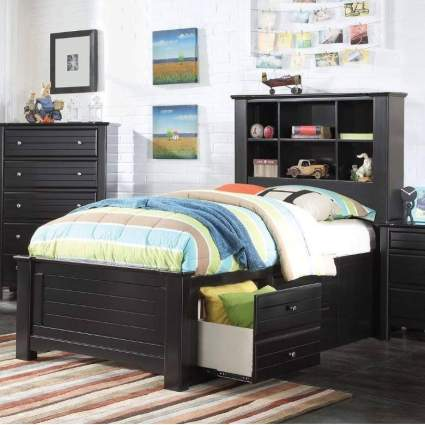 Acme Furniture Mallowsea Bed with with Storage, Full, Black