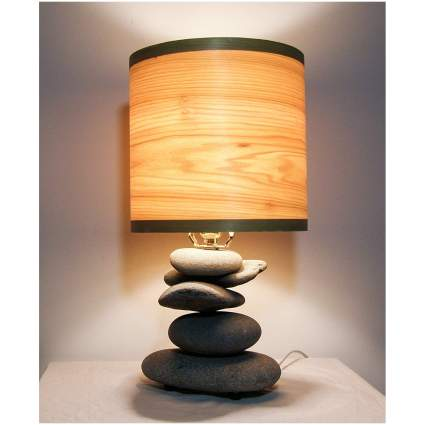 lamp made out of beach stones