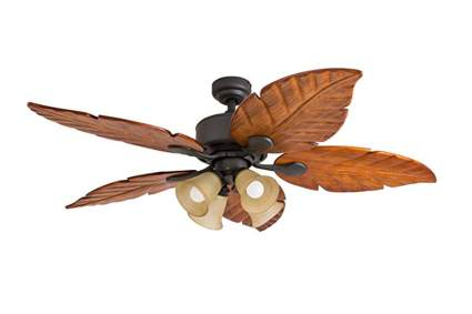 wooden leaf blade ceiling fan with remote