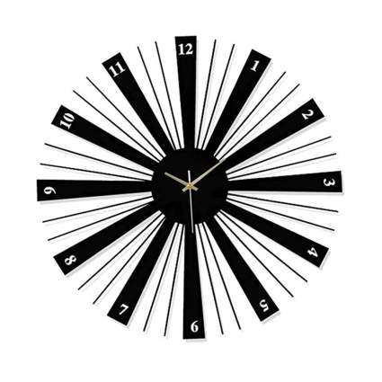 black and white minimalist starburst clock