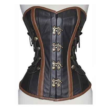 black lambskin leather corset