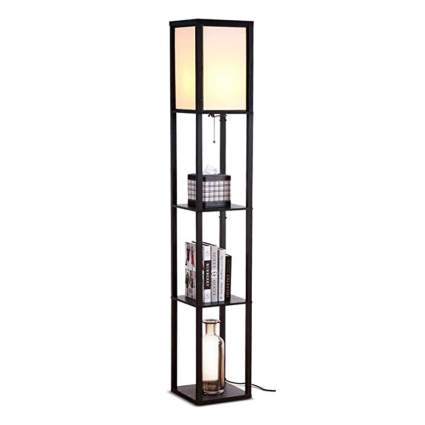black LED shelf floor lamp