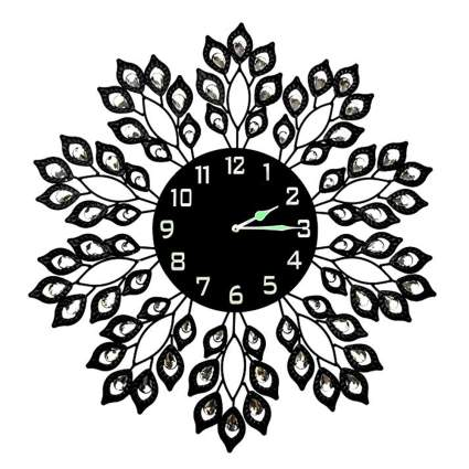 black metal crystal leaf wall clock