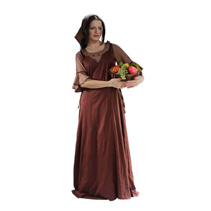 brown peasant gown