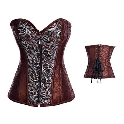 brown zip front steampunk corset