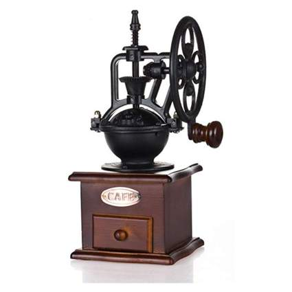 cast iron and wood manual coffee grinder