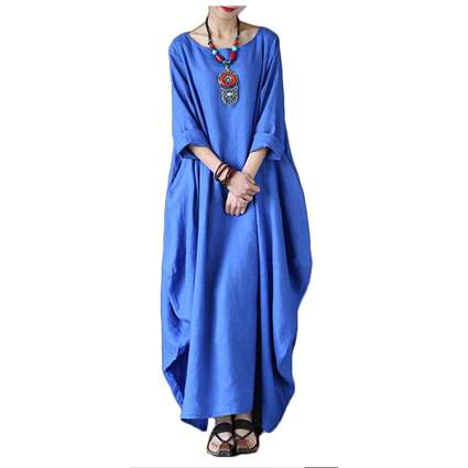 blue cotton cuff sleeve kaftan
