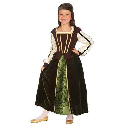 brown and green children's maid marian costume