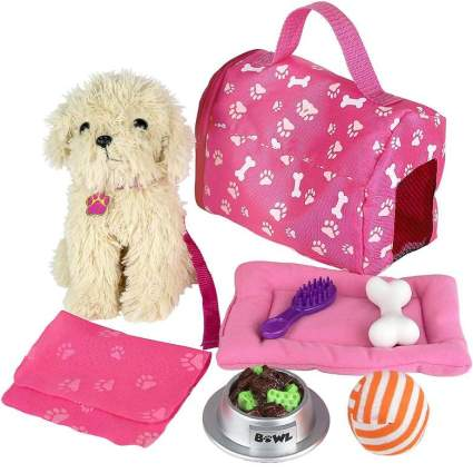 Click n' Play 9 piece Doll Puppy Set and Accessories