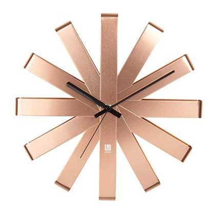 copper ribbon small starburst clock
