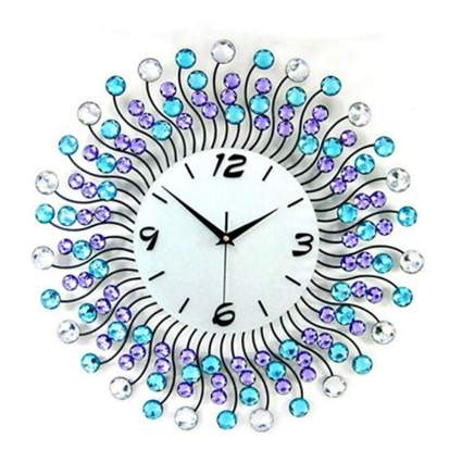 purple and blue crystal and iron starburst clock