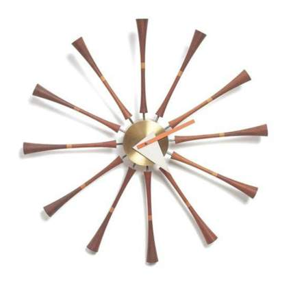 dark wood spindle wall clock