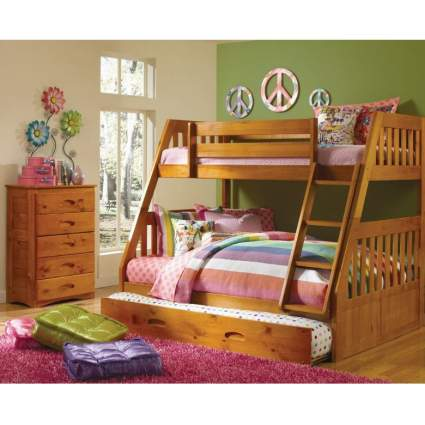 Discovery World Furniture Mission Twin Over Full Bunk Bed with 3 Drawers