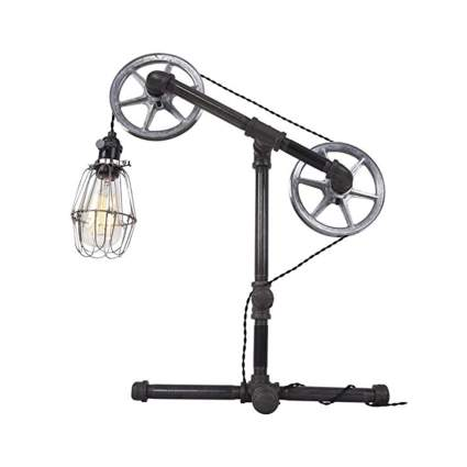 double pulley steampunk pipe lamp